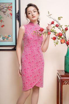 Dress Brukat, Batik Dress, Lace Dress, Chinese Shirt, Myanmar Dress Design, Female Fashion, Womens Fashion, Cheongsam Dress, Brokat