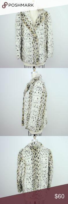 VTG 80s Faux Fur Jacket Coat Snow Leopard VTG 80s Mirage Outerwear Womens Faux Fur Snow Leopard Coat Jacket Sz M  Description - no size tag   Material: faux fur Size: n/a  Measurements (in inches):  Shoulder: 16 Armpit-to-armpit: 21 Length: 27 Sleeve: 24 **All our products come from a clean and smoke-free household.** Vintage Jackets & Coats