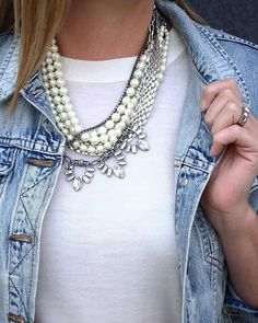 Denim and pearls.  This necklace is a perfect gift idea with 4 different ways to wear it.  Tap on pic or shop the look  @liketoknow.it www.liketk.it/1XzoD #liketkit  by Nicholas Graham