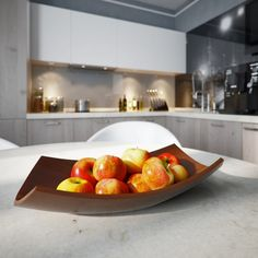 modern fruit bowl in wood color on the white dining table