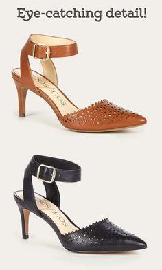 Cognac & black leather d'Orsay mid heels with laser cut details