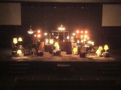 """Life Church stage set - """"Your Word is a lamp for my feet and a light for my path"""".  How many lamps could be borrowed for free or purchased for super cheap at a thrift store?"""