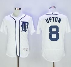 tigers 8 justin upton white flexbase authentic collection stitched mlb jersey