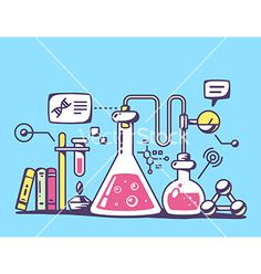 Red and yellow chemical laboratory flasks vector - by wowomnom on VectorStock®