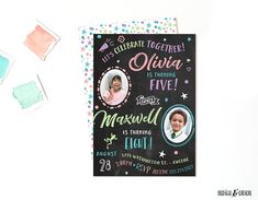 Joint Birthday Invitation Sibling Invitations Siblings Party Combined Chalkboard Photo Boy And Girl