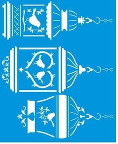 Stencil de Gaiolas e Pássaros 17 x 21cm - STM 321 - Stencil 17 x 21cm - Stencil ou molde vazado - Empório Janial