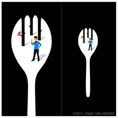 The art of negative space. An attempt to tell a story through illustration by Tang Yau Hoong Tang Yau Hoong, Negative Space Art, Space Artwork, Fall Art Projects, Devine Design, Art Drawings Beautiful, Elements Of Art, Fantastic Art, New Artists