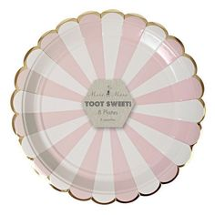 This party plate is brightly patterned with a radial red stripe and has a silver foil, scalloped edge. Pack of 8 plates.