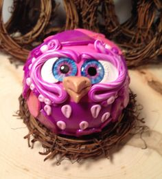 Juicy  Polymer Clay Owl Sculpture with by TheNakedPeacock on Etsy, $14.95