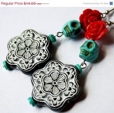 SALE Sugar Skull Earrings Turquoise Blue Catrina Frida Kahlo Mexican Red Rose Bold Day of the Dead Jewelry