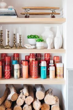 My Sweet Savannah: ~camp style home finds~ Ellen Degeneres Home, Bookshelf Styling, Shelfie, Autumn Home, Open Shelving, Candlesticks, Industrial Style, Floating Shelves, Diy Projects
