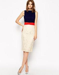 new fashion ladies's dress with lace stitching pencil dress sleeveless