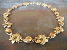 Art Nouveau floral link necklace 12k Gold Filled on Etsy $72 from HouseOfRene