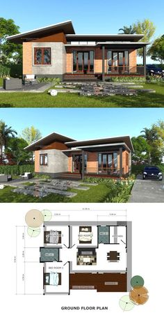 The Simplicity of this Three-bedroom Modern Bungalow Makes it Winsome House Design The Simplicity of this Three-bedroom Modern Bungalow Makes it Winsome Model House Plan, My House Plans, House Layout Plans, Bungalow House Plans, House Layouts, 3 Bedroom Bungalow, Modern Bungalow House Design, Simple House Design, Modern Bungalow Exterior