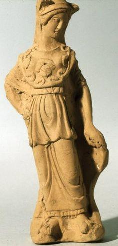 Terracotta statuette of Athena - found Taranto, circa 350 BC, at the British Museum