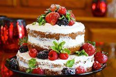 Banana and Vanilla Italian Buttercream Naked Cake with Fresh Berries and Mint