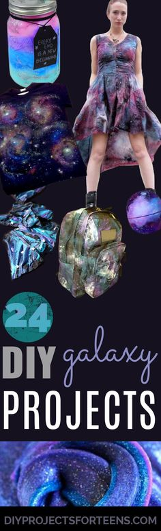 DIY Galaxy Crafts - Galaxy DIY Projects for Your Room, Gifts, Clothes. Ideas for Painting Jewelry, Shirts, Jar Ideas, Food and Makeup. Step by Step Tutorials for Teens, Tweens and Adults