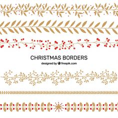 Pack of christmas decorative elements Free Vector Christmas Border, Christmas Love, Vintage Christmas, Merry Christmas, Christmas Doodles, Christmas Drawing, Eid Crafts, Christmas Cards, Vector Christmas