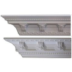 @Overstock - This ornate crown molding, featuring Acanthus Leaf Medallions, is modeled after the styling of Christopher Wren and features a strong and distinct appearance. This molding is commonly used with 9 to 10 foot ceilings. http://www.overstock.com/Home-Garden/Baroque-style-5-3-8-inch-Acanthus-Medallion-Crown-Molding-Pack-of-8/5512596/product.html?CID=214117 $184.99