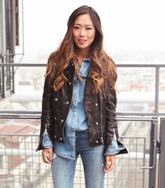 @Who What Wear - Aimee Song of Song of Style  We appreciate a well-executed denim-on-denim ensemble, which is why we're proud to share Song's recent getup. She unzipped the sleeves on her Anine Bing Moto Leather Jacket ($1099) to reveal her Paige Denim shirt, which she half-tucked into her 7 For All Mankind Vintage Skinny Jeans ($78). The results: our dream outfit.