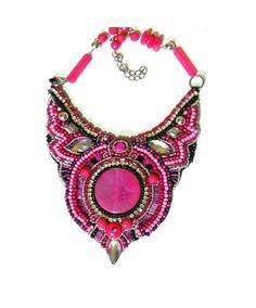 Rosa bordado del grano collar collar rosa rosa por AniDandelion