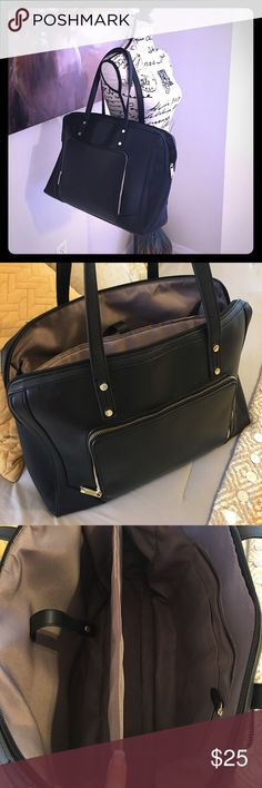 🖤Black work tote🖤 Beautiful black work tote.  Looks fancy and classy for the price! Two large compartments, one side has padding and snaps in to hold laptop. Measures 17 in. wide x 12 in. tall with 9 in. strap drop.  Purchased from Target for $40 in August and I am just not using it.  Perfect condition with no flaws. Bags Laptop Bags