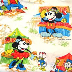 Vintage Disney Mickey Mouse Fantasia And Minnie Twin Flat Sheet