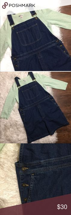 {Liz Claiborne} Vintage Blue Overall Shorts Pretty and trendy blue jean overalls shorts in great used condition! Size Large, no I cannot model! Liz Claiborne Jeans Overalls