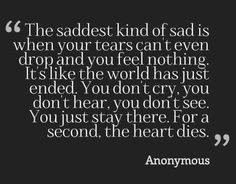 "I call it ""the place beyond tears"". Depression so deep that apathy surpasses sadness. A truly dark place to be."