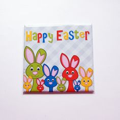 Easter Bunny, Bunnies, Happy Easter Magnet, Magnet, Fridge magnet, Easter, Easter Rabbit, Easter gift, Easter magnet, bright colors (7389) by KellysMagnets on Etsy