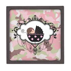 Pink Camouflage Keepsake Box Baby Shower Gift