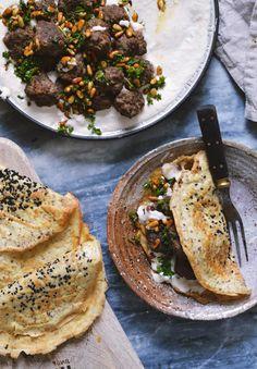 Middle Eastern Kofta Meatballs  with Creamy Bean Hummus + Grain-Free Flatbread