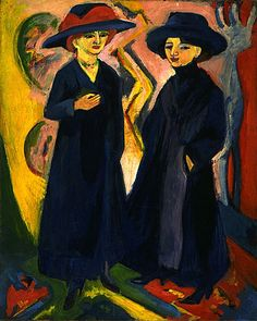 Ernst Ludwig Kirchner- Two Women 1911-1912/1922 Oil on canvas 59 x 47 in. (149.9 x 119.4 cm)