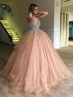Quinceanera Dresses 2020 Blush Pink Ball Gown Sweet Beaded Formal Gowns vestidos de 15 Party Prom Dresses on AliExpress Sweet 16 Dresses, Elegant Dresses, Pretty Dresses, Beautiful Dresses, Formal Dresses, Wedding Dresses, Long Dresses, Puffy Prom Dresses, Dresses Dresses