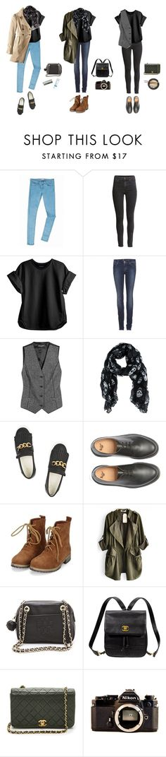 """3 autumn outfits with black shirt"" by majaklara ❤ liked on Polyvore featuring Tommy Hilfiger, H&M, Cynthia Rowley, 7 For All Mankind, Dolce&Gabbana, Giuseppe Zanotti, Dr. Martens, Tory Burch, Kate Spade and Chanel"