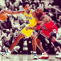 @kobebryant trying to score on Jordan. Only 31 points away from passing MJ on the all-time scoring list #TBT #NBATBT