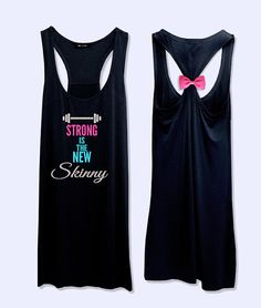 Strong is the new skinny work out  fitness bow tank by VintTime, $24.00 - Black