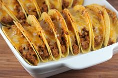 Baked Tacos Recipe--yummy and a great time saver! Food For Thought, Think Food, I Love Food, Good Food, Yummy Food, Tasty, Fun Food, Mexican Dishes, Mexican Food Recipes