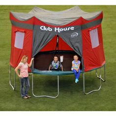 Give your kids a clubhouse they'll never forget with the Propel Trampolines trampoline clubhouse tent accessory kit. Clubhouse TENT Playhouse Weather Resistant Cover FITS 12 'Propel Trampolines with 6 Enclosure Poles. Trampoline Reviews, Backyard Trampoline, Backyard Camping, Tent Camping, Trampoline Ideas, Backyard Ideas, Backyard Projects, Backyard Playground, Trampoline Safety