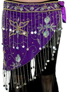 Sequin Beaded Hip Wrap Belt with Fringe - PURPLE