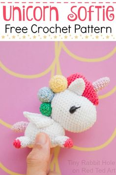 Free Unicorn Crochet Pattern. Learn how to make this tiny unicorn crochet toy with Tiny Rabbit Hole on Red Ted Art #crochet #unicorn #amigurumi #kawaii #pattern