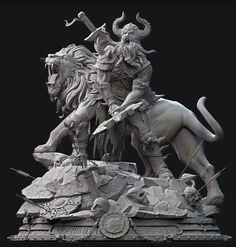 Awesome sculpt by TastyCG Zbrush, Ancient Greek Sculpture, Greek Statues, Fantasy Warrior, Fantasy Art, Vikings, Greek Mythology Tattoos, Anatomy Sculpture, Asian Sculptures