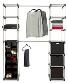 Whitmor Deluxe Double Rod Closet Organizer - Cleaning & Organizing - For The Home - Macy's Collapsible Storage Cubes, Cube Storage, Storage Shelves, Shelving, Attic Storage, Closet Storage, Hanging Shoe Organizer, Hanging Bar, Hanging Closet