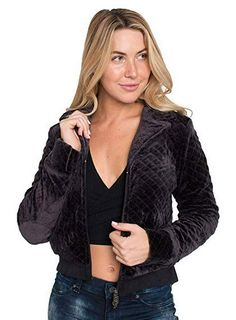 Sweet Vibes Junior Women Black Velour Quilted Zipup Padding Jackets Front Pocket