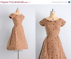 vintage 1950s dress • 50s brown day dress • embroidered polka dots •