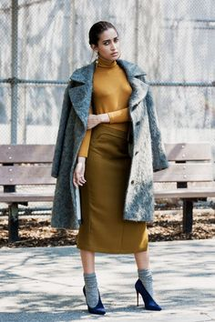 Gold & Gray look that includes a pencil skirt. I'm in.