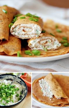 Whole wheat tomato and basil crepes with spicy cottage cheese filling. Healthy and delicious! Healthy Eating Recipes, Clean Recipes, Healthy Snacks, Milk Recipes, Brunch Recipes, Crepes Party, Relleno, Food For Thought, Food Inspiration