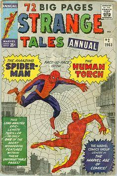 SILVER AGE MARVEL COMICS 1963 STRANGE TALES ANNUAL #2 SPIDER-MAN vs. HUMAN TORCH!!