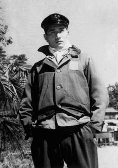 Japanese navy pilot working as an instructor in the Omura naval air group near Hiroshima, 1945.