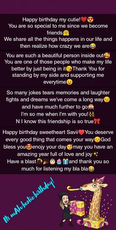 Happy Birthday Bestie Quotes, Besties Quotes, Happy Birthday Me, Birthday Paragraph, Real Friendship Quotes, Cute Cartoon Girl, Beautiful Inside And Out, Birthday Cakes, Cute Couples